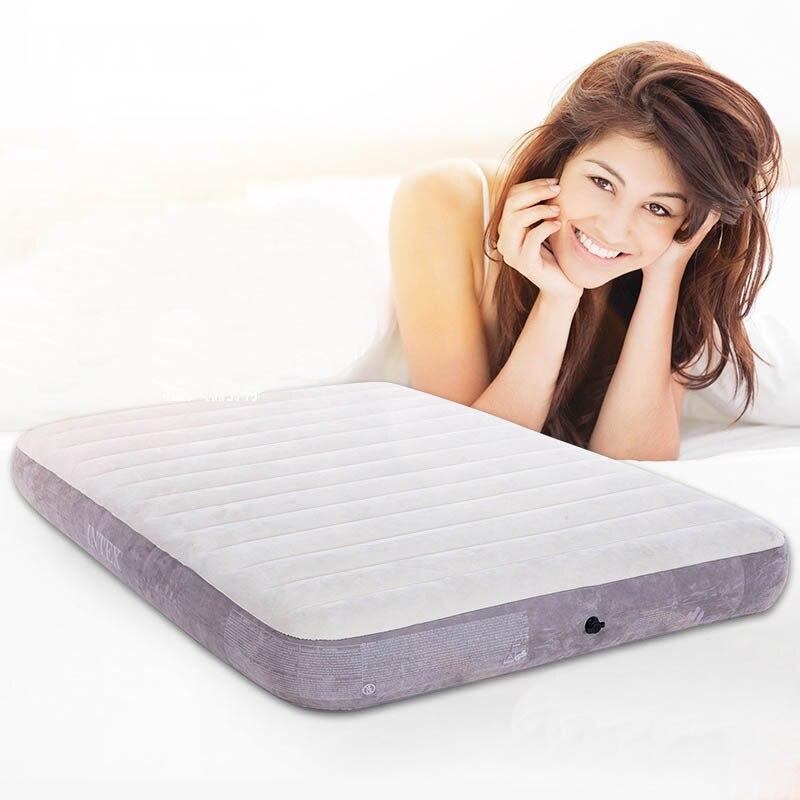 INTEX 64702 137*190*25CM Flocking 2 Person Air Mat Camping Mat Inflatable Mattress Picnic Mat Sleeping Pad With Electric Pump