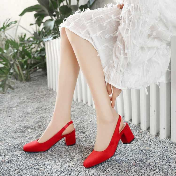 Büyük Boy 9 10 11 12 13 14 15 16 17 18 19 yüksek topuklar sandalet kadın ayakkabı kadın yaz bayanlar Kare kafa ve arka kayış sandalet