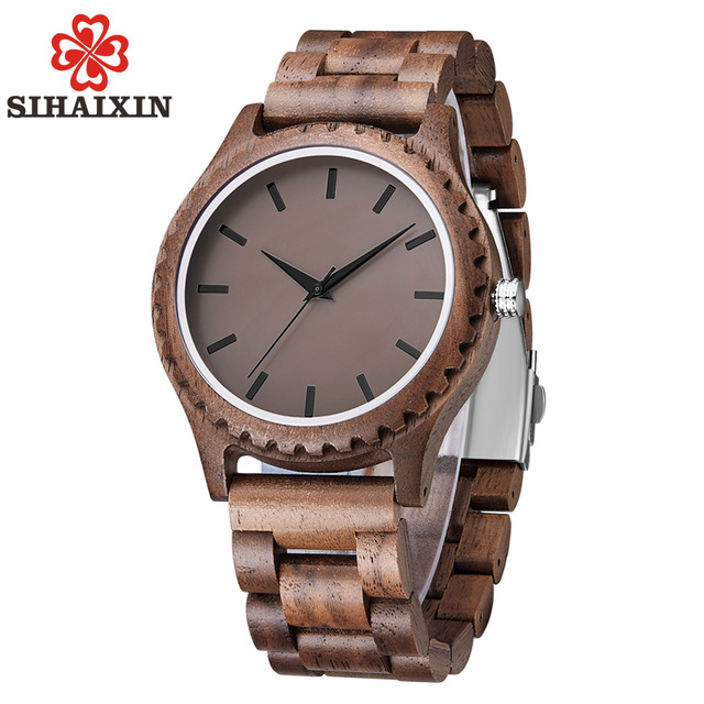 SIHAIXIN Wooden Watch Male Handmade Horloges Mannen Wood Watch Men Sandalwood Quartz Simple Bamboo Clock Gift With Free Shipping