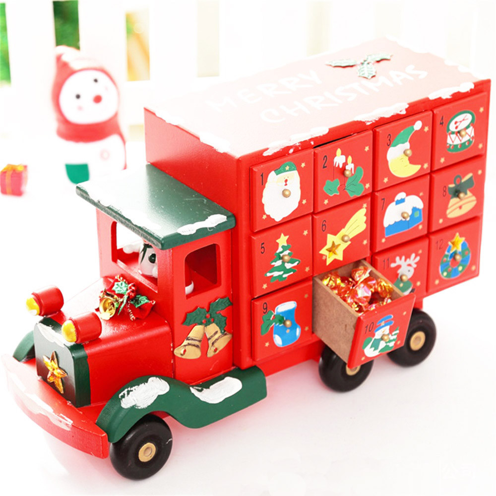 Christmas Decoration Decoration Christmas Bag wood Christmas large truck candy countdown drawer