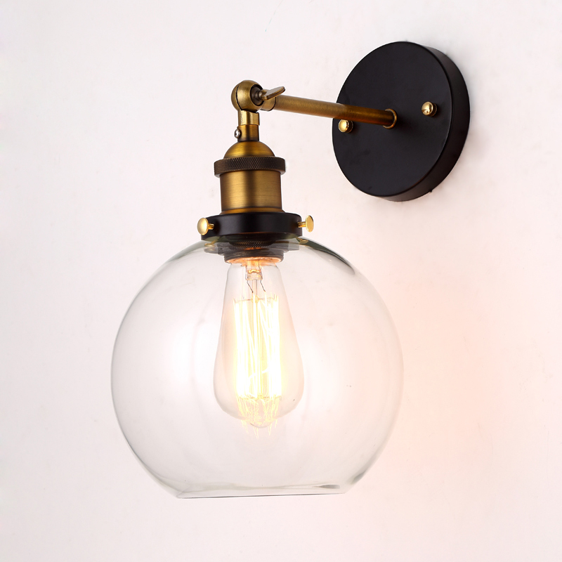 Loft Vintage Wall Lamps Clear Glass Lampshade Industrial Edison Antique Copper Wall Lights For Bedroom wholesale price loft vintage industrial edison wall lamps clear glass lampshade antique copper wall lights 110v 220v for bedroom page 4 page 4