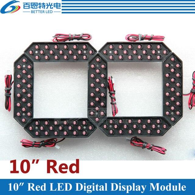 """4 cái/lốc 10 """"Màu Đỏ Ngoài Trời 7 7 Phân Đoạn LED Kỹ Thuật Số Số Module cho Khí Giá Màn Hình Hiển Thị LED MODULE"""