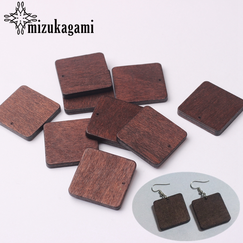 Natural Wooden Square Shape Charms Pendant 26MM 2pcs/lot For DIY Fashion Earrings Making Accessories