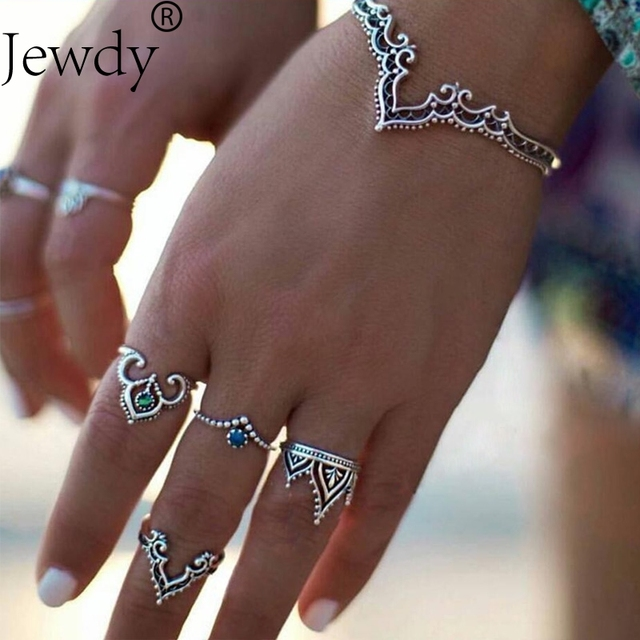 Jewdy Bracelets & Bangles Vintage Indian Hollow Pattern Bangle Bohemian Love Cuff Bracelets For Women Femme Fashion Jewelry
