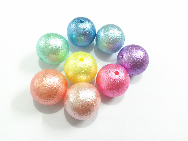 (Choose Size First) 12mm/16mm/20mm Pastel Mixed Color  Chunky  Acrylic  Wrinkles Pearl Beads