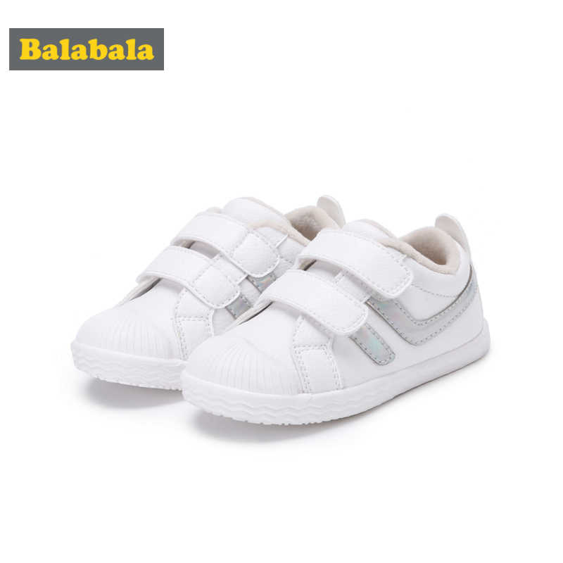 Balabala Fleece-Lined Sneakers for Toddlers Kids Toddler Gil Boy Casual Sneakers Double Hook-and-loop Straps with Laser Detail