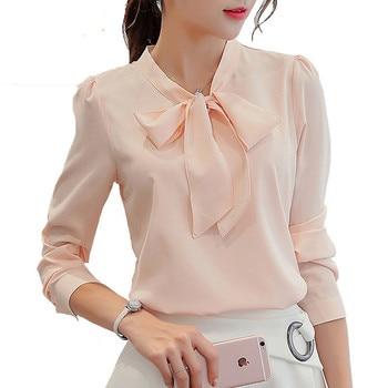 New fashion Women Korean Casual Chiffon Blouse White Office Shirt Long sleeves Women Tops blusa feminina blusas