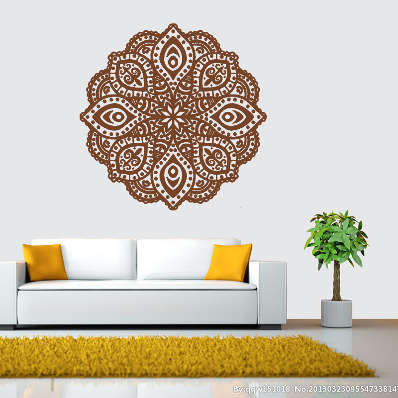 Buddhist Art Wall Stickers India Mandala Stickers Removable Waterproof Home Decoration Living Room Decal Art mural 6 Colors each in Wall Stickers from Home Garden