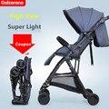 Luz cochecito de bebé paraguas coche de cuatro ruedas plegable suspensión cochecito de bebé portátil