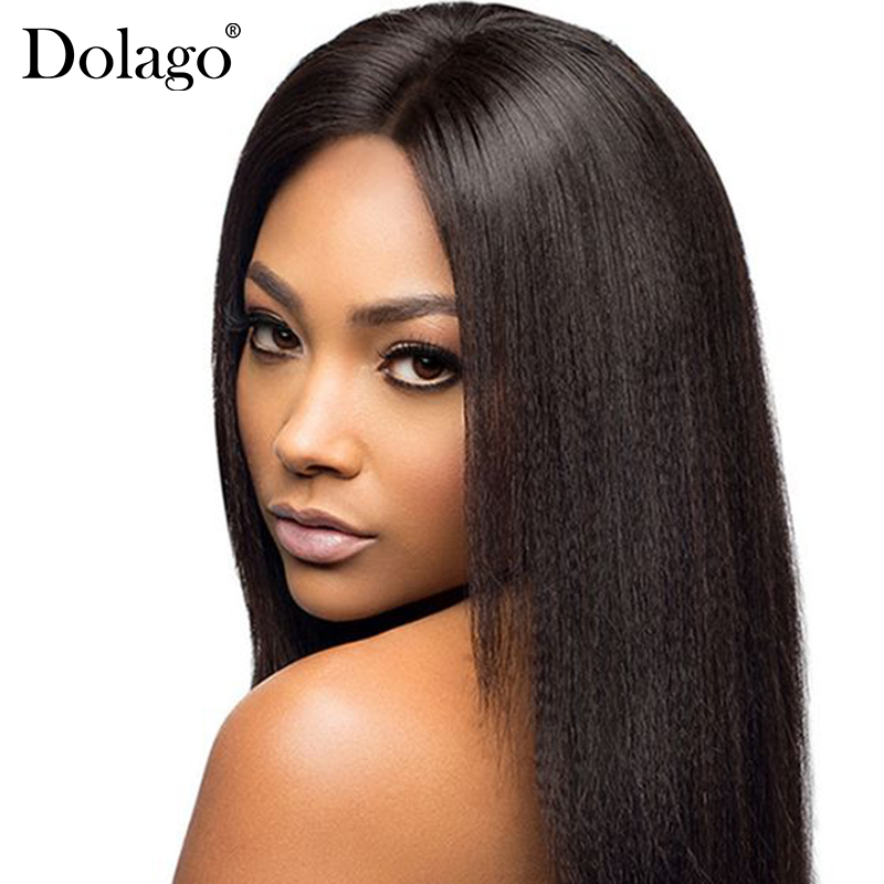 Italian Yaki Straight Lace Front Human Hair Wigs For Women Pre Plucked With Baby Hair 13x4 130% Density Brazilian Remy Dolago