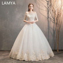 LAMYA High Quality Three Quarter Ball Gown Wedding Dress Boat Neck Lace Appliques Bridal Princess Elegant Vestido De Noiva