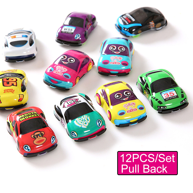 (Set of 12) Baby Toys Cute Pull Back Cars Toy Cars for Child Wheels Pocket Mini Car Plastic Model Funny Kids Toys for Boys Girls