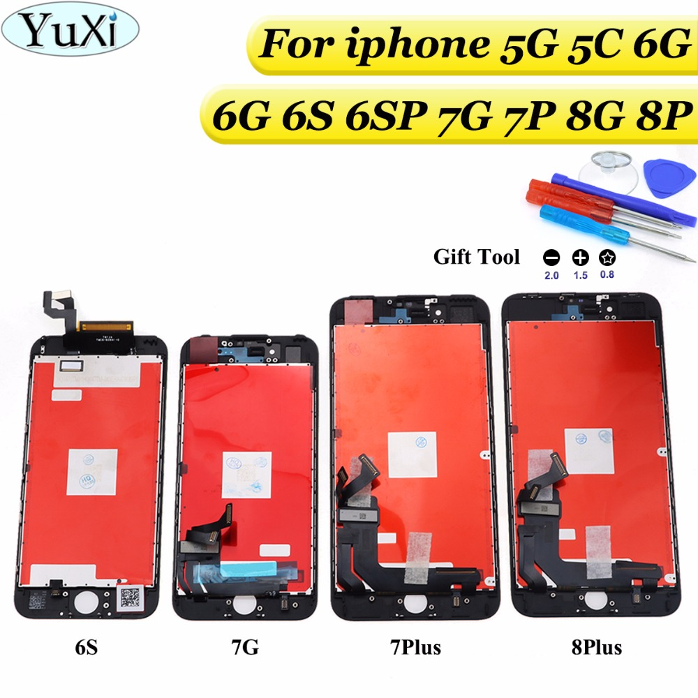 YuXi LCD Screen for iPhone 7G 7Plus 8G 8P Display Touch Glass Digitzer Replacement Check & Test One by One+tools+tempered glass