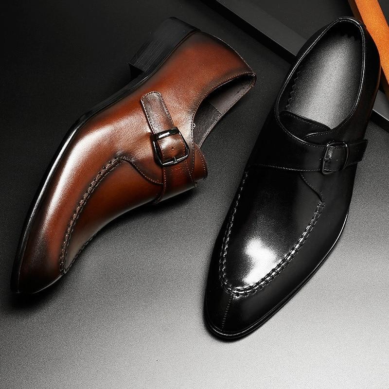 Hommes en cuir véritable chaussures d'affaires robe formelle chaussures hommes angleterre mode mocassins Oxfords taille 37 44 usine directe en gros-in Chaussures d'affaires from Chaussures    2
