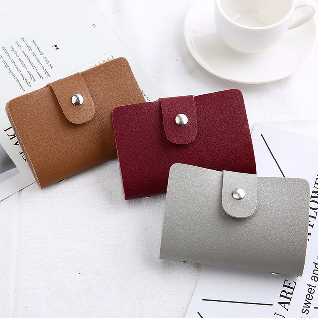 Leather Function 24 Bits Card Case Business Card Holder Men Women Credit Passport Card Bag ID Passport Card Wallet H088