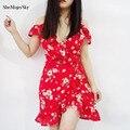 Шифон Женские Летние Dress 2017 Красный Отпечатано Sexy Party Beach Dress Женщин Платья Vestidos Mujer