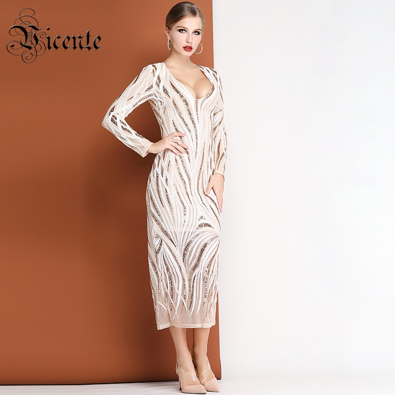 Vicente HOT Chic Sequins Long Dress Sexy V Neck Long