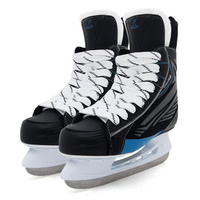 Adult Child Ice Hockey Knife Skating Sneakers Ice Skate Tricks Shoes Leather Ice Blade Real Ice Skates Patines Skiing Black ID18