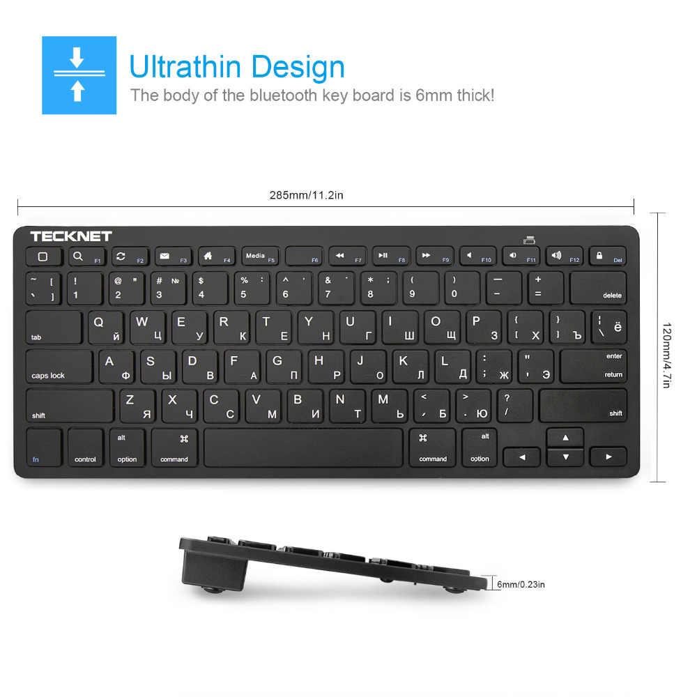 TeckNet 2,4 ГГц Беспроводная русская клавиатура Тонкий USB Ноутбук клавиатуры горячие клавиши дизайн для Android Smart tv Windows 10 8 7 XP Vista