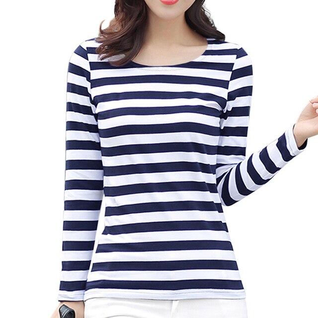 ac0e69092eb2 KalvonFu Women's Long Sleeve Striped Top Tee Female Casual O-neck T-Shirt  Basic Design Slim T Shirt