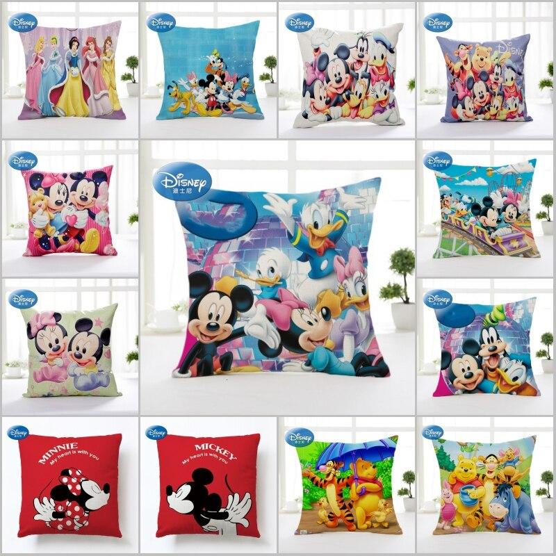 Taie d'oreiller sham pour enfants   Décoration mignonne de princesse Winnie sirène de dessin animé Disney/taie d'oreiller housse de coussin pour enfants 45x45cm