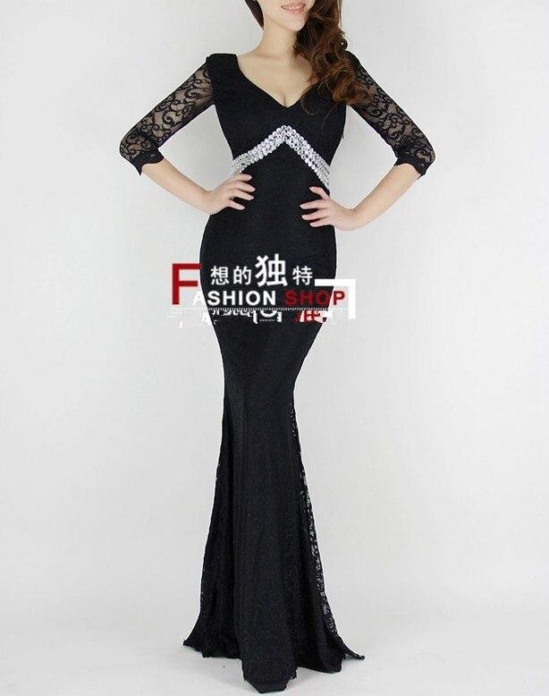v-образным вырезом платье с поясом длинное вечернее платье халат de soiree Abiti да сывороток vestido de festa longo com H0296 - Цвет: Black