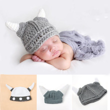New Top Sale Ox horn Design Newborn Photography Props Baby Handmade Crochet Hat 3-24 months baby hat 2 colors