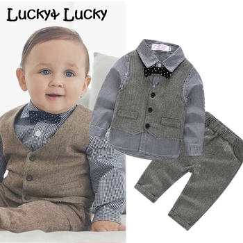 (4pcs/set) wedding baby clothing set newborn baby clothes shirt+vest+pant+bow