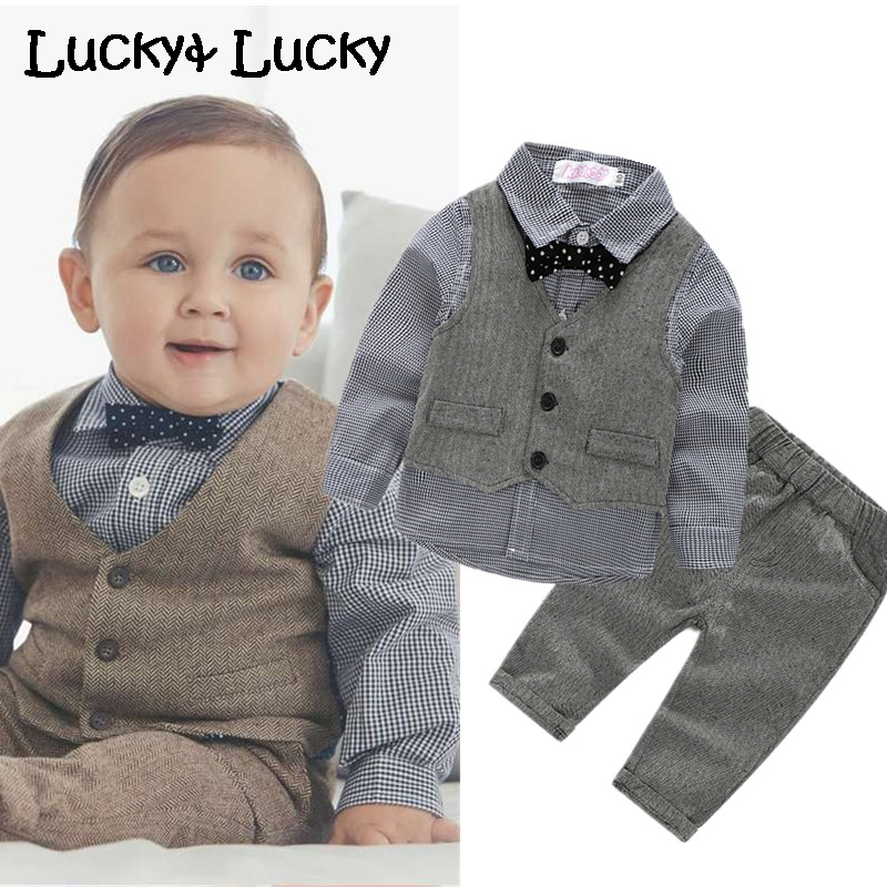 (4pcs/set) wedding baby clothing set newborn baby clothes shirt+vest+pant+bow-in Clothing Sets from Mother & Kids