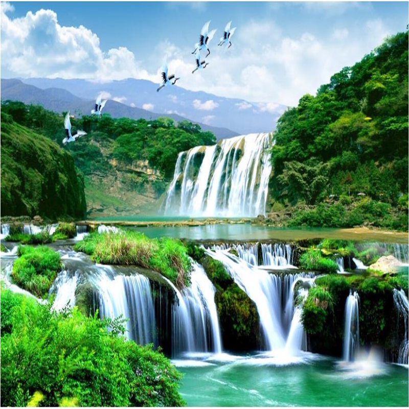 House Hd Wallpaper: Beibehang HD Custom Any Size Photo Wallpaper 3d Waterfall