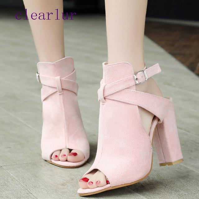 rosado Alto Zapatos Correa 43 De Tacón Mujer amarillo Tamaño C0414 Moda Mujeres Sandalias Verano Negro 35 Negro Las Hebilla HnI4WxqT