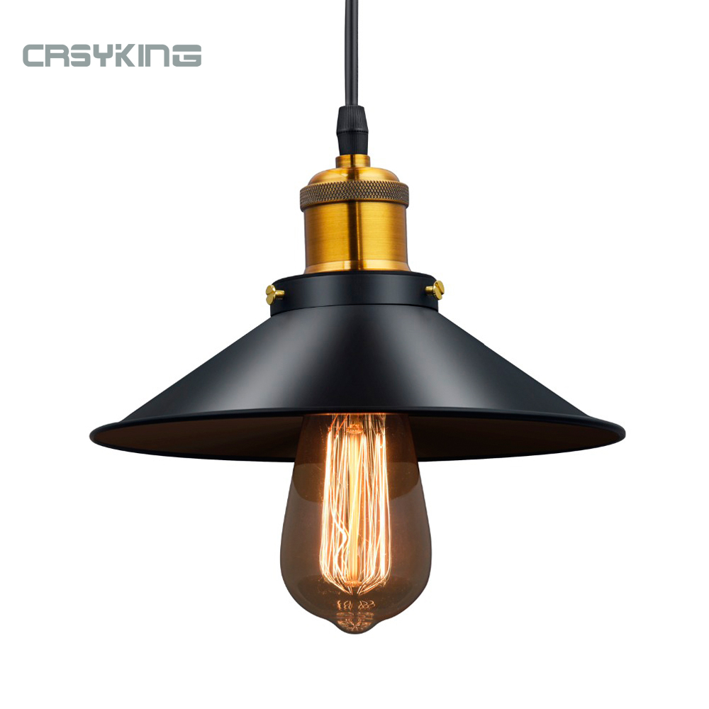 Vintage Industrial Pendant Light Retro Ceiling Lamp Black Iron Lampshade Nordic E27 Edison Lamp for Dining Bedroom Restaurant