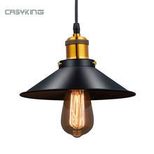 Vintage Industrial Pendant Light Retro Ceiling Lamp Black Iron Lampshade Nordic E27 Edison Lamp for Dining Bedroom Restaurant(China)