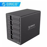 ORICO aluminio USB3.0 5 Bahía 3,5 pulgadas SATA caja de disco duro 50 TB Max con 12V6. adaptador de corriente de enchufe de la UE 5A del almacén de Rusia