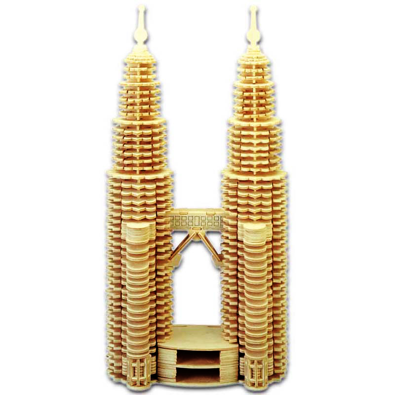 Toys For Children 3d Puzzle Diy Wooden Puzzle Petronas Twin Tower Kids Toys Also Suitable Adult Game Puzzles    - title=