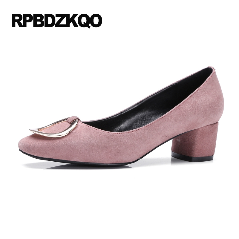 Ladies High Heels Shoes Size 4 34 Metal Office China Chunky Medium Square Toe 2017 Pumps Pink Suede Chinese Spring Autumn New round toe beige strap ladies metal high heels medium chunky modern block slingback size 4 34 sandals shoes 2017 summer pumps new
