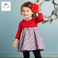 Db3965 dave bella otoño vestido rojo niña palid un line grid girls vestido de lolita r