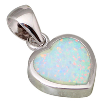Prime quality suppliers 925 sterling silver jewellery Trend Jewellery Coronary heart White Hearth Opal pendants P040