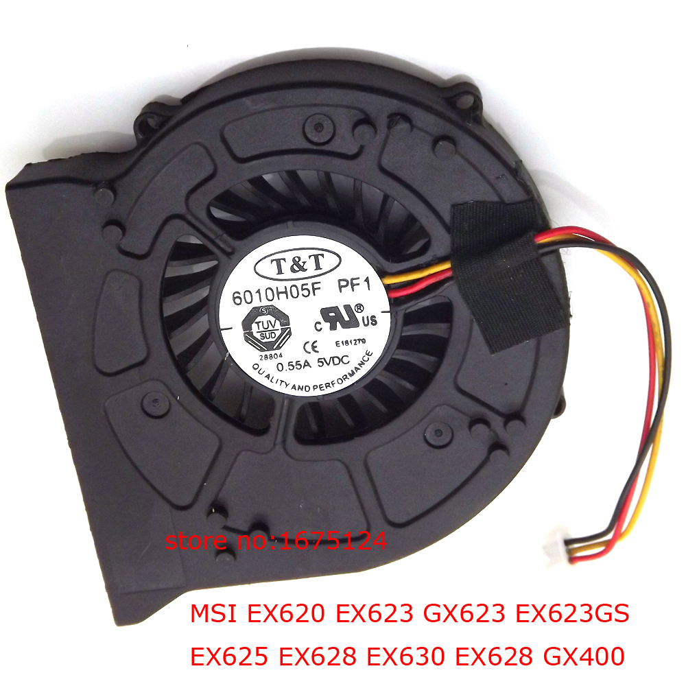 6010H05F PF1 3PIN computer radiator blower Laptop CPU Cooler Fan For MSI EX620 EX623 GX623 EX623GS EX625 EX628 ms-1674 cooling