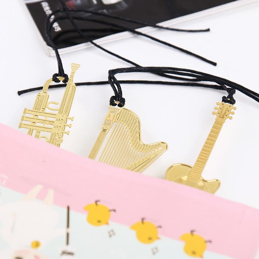 1 шт. корейский Канцелярские металлические закладки Мода музыка фортепиано гитара Закладка для книги креативный подарок