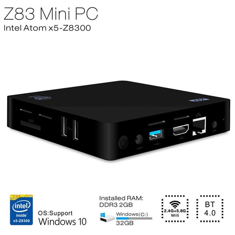 Z83II Mini PC Intel Atom x5-Z8350 Quad Core GAGNE 64bit 2.4g + 5.8g WiFi Intel HD Graphics 400 TV Box 2 gb 32g Médias Palyer