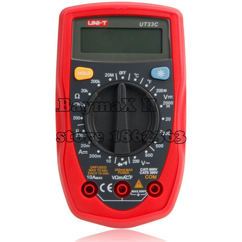 цена UNI-T UT33C LCD Digital Multimeter Handheld AC DC ohm volt meter Temp Tester with Warranty Card/Probe/Temperature Probe/ Manual