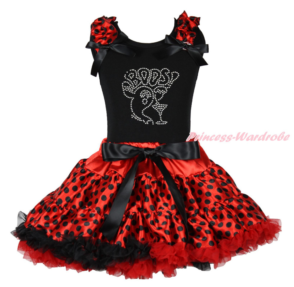 BOOS Ghost Halloween Black Top Shirt Red Black Dot Skirt Girls Outfit Set 1-8Y MAPSA0848 halloween rhinestone cat white top dusty pink skirt girls cloth outfit set 1 8y mapsa0785