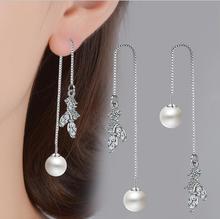 Everoyal Shiny Crystal Leaf Girls Tassel Drop Earrings Jewelry Trendy Silver 925 Women For Female Accessories Bijou
