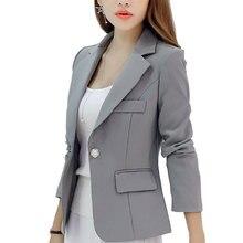 Новый с длинными рукавами Тонкий Для женщин Пиджаки для женщин и Куртки Малый Для женщин костюм Корейская версия (серый/синий/цвет красного вина/ темно-синий) Дамы Blazer