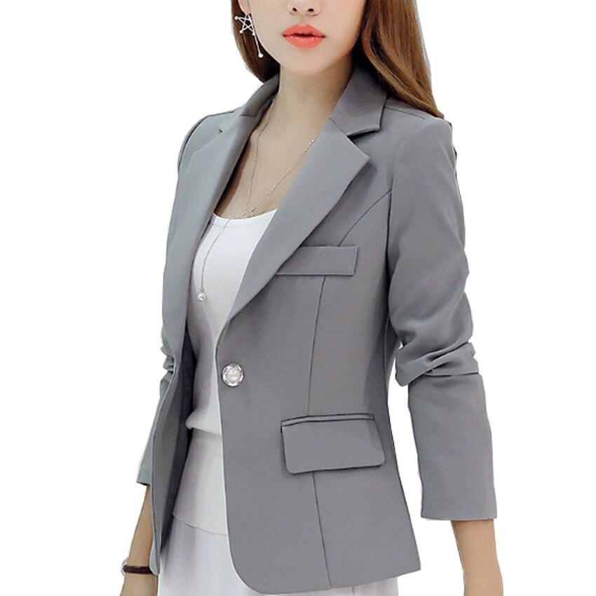 New Long-sleeved Slim Women Blazers And Jackets Small Women Suit Korean Version (Gray/Blue/Wine Red/Navy blue) Ladies Blazer