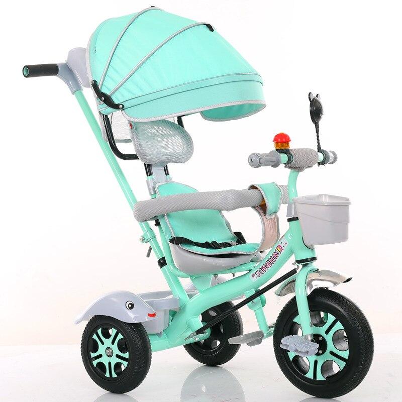 Enfant Tricycle vélo 1-6 ans fauteuil roulant enfants vélo trois roues poussette 2 en 1 Buggies 3 roues poussette Tricycle