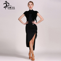 Black Color 2 Pieces Latin Dance Dresses For Women Latin Salsa Stage Costumes Practice Clothing Ruffles