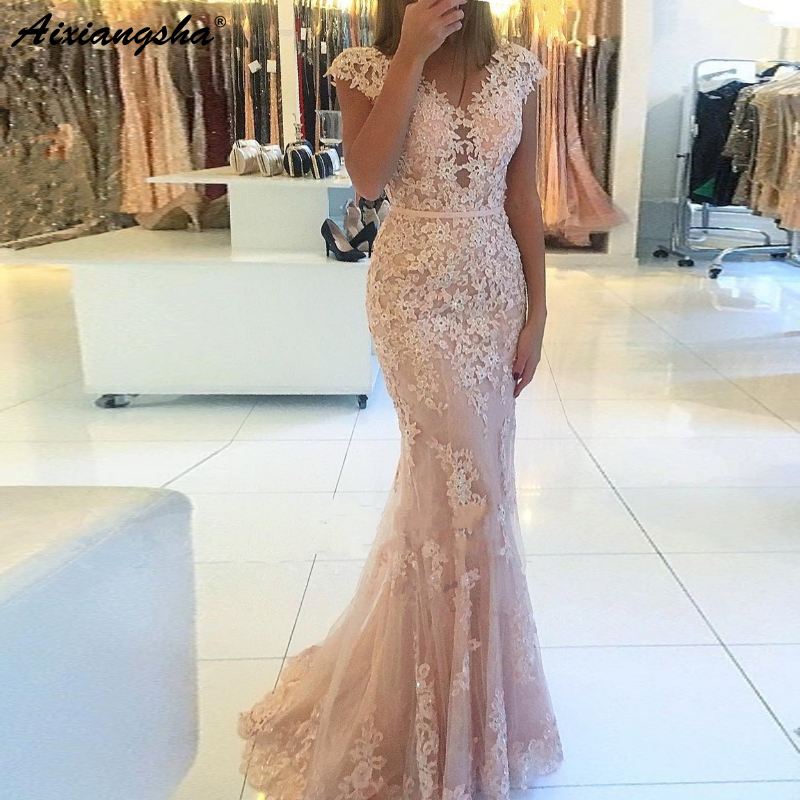 Elegant V-Neckline Cap Sleeve Lace Tulle Mermaid Evening Gown 2019 Floor Length vestido de fiesta Long Light Pink   Prom     Dress