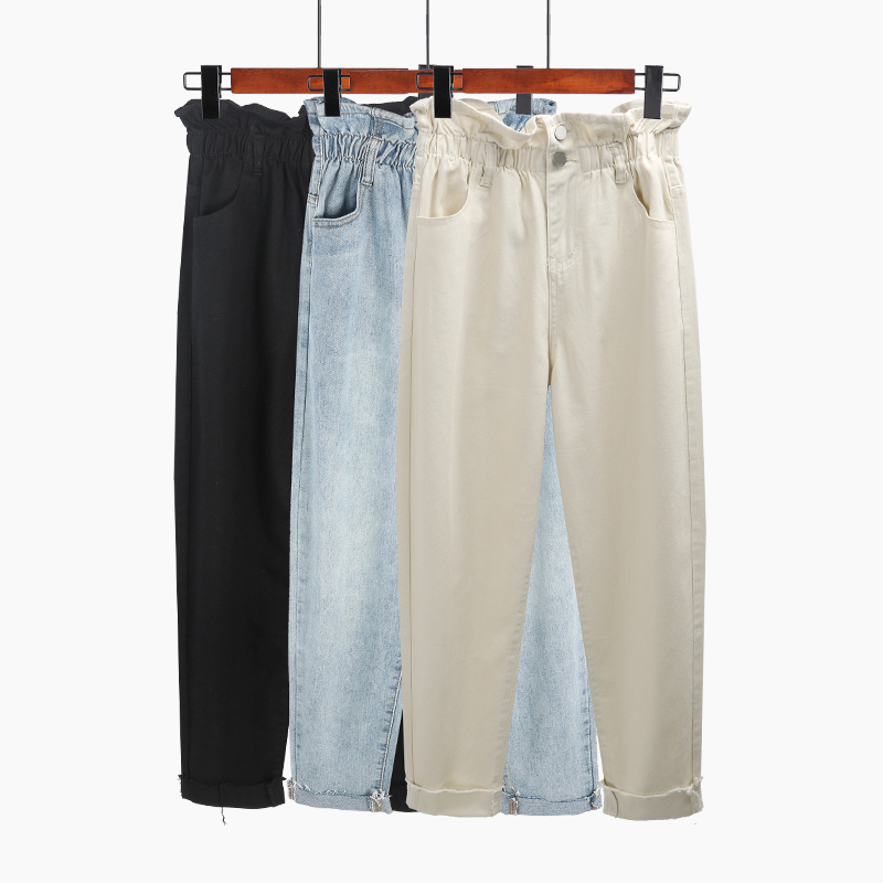 Autumn Jeans Women Solid Color Jeans Vintage High Waist Spring Denim Pants Ruffles Harem Jeans Femme in Jeans from Women 39 s Clothing